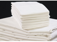 "81"" x 104"" T-200 White 60/40 Percale Full Flat Sheets"