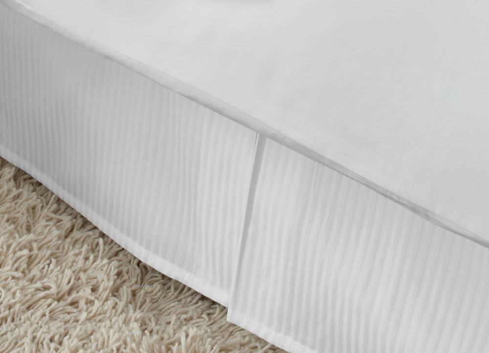 Bed Skirt Queen Size White Stripe