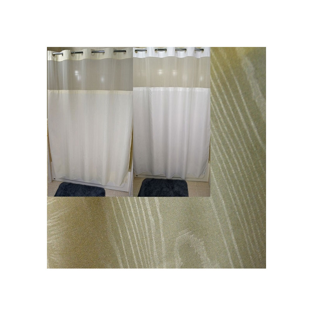 72 X 74 Ezy Hang Moire Shower Curtain With Voile Window And Snap Away Liner White