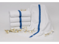 "22x44"" Dependability™ 7 lb. Blue Center Stripe Towel"