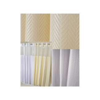 "72"" x 74"" Ezy-Hang Chevron Shower Curtain with Voile Window and Snap-Away Liner, Beige"
