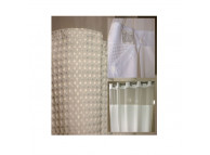 "72"" x 74"" Ezy-Hang Empire Waffle Shower Curtain with Voile Window and Snap-Away Liner, White"