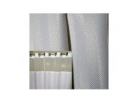 "71"" x 77"" Ezy-Hang Herringbone Shower Curtain with Voile Window and Snap-Away Liner, White"