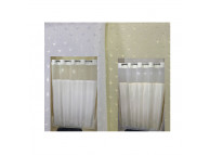 "72"" x 74"" Ezy-Hang Stardust Shower Curtain with Voile Window and Snap-Away Liner, Beige"