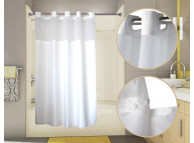 71x74 White, PreHooked Duet Shower Curtains