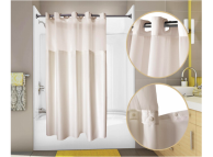 71x77 Champagne-PreHooked Shower Curtains Nylon