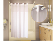 71x77 White, PreHooked Allure Shower Curtains