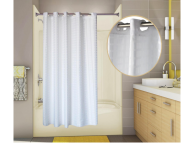 71x74 White, PreHooked Tracks Shower Curtains