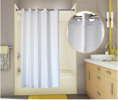 71x77 White, PreHooked Tracks Shower Curtains