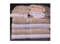 "20"" x 40"" White 5.5 lb CAM Border Hotel Bath Towels"