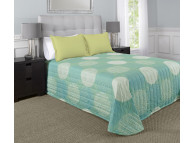 "120"" x 118"" Martex Rx Bedspread, King Size, Circle & Stripes Aqua"