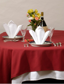 "71"" x 71"" Cotton Craft Dynasty Tablecloths,  7.2 oz, Ivory, Per Dozen"