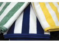"35"" x 70"" Ganesh Pool Towels, 20 lbs., 100% Cotton, Yellow Stripe"