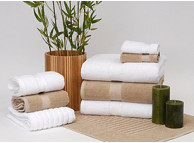 "27"" x 54"" 16 lb. Green Threads® Pearl XL Hotel Bath Towel, White"