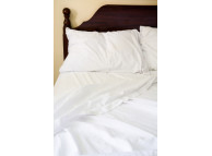 "54"" x 80"" x 15"" T-180 White Full XXLD Percale Fitted Sheets"