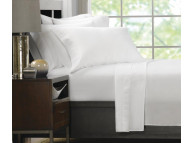 "66"" x 105"" Ultra Touch Microfiber Twin Size White Flat Sheets"